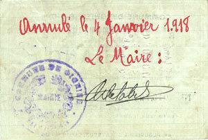 30.8.1914 FRANZÖSISCHE NOTSCHEINE Oignies (62). Commune. Billet. 1 franc 30.8.1914, série B ss-vz