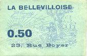 FRANZÖSISCHE NOTSCHEINE Paris (75). La Bellevilloise, 23 rue Boyer (20e). Billet. 50 centimes vz