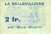 19.3.1920 FRANZÖSISCHE NOTSCHEINE Paris (75). La Bellevilloise, 23 rue Boyer (20e). Billet. 2 francs 19.3.1920 vz / ss