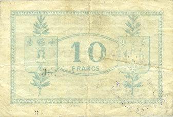 1917-10-27 FRANZÖSISCHE NOTSCHEINE Origny-Ste-Benoite (02). Commune. Billet. S.Q.G., 10 francs 27.10.1917 Légère salissure, s-ss