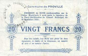 FRANZÖSISCHE NOTSCHEINE Proville (59). Commune. Billet. 20 francs, cachet