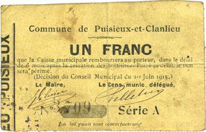 1.6.1915 FRANZÖSISCHE NOTSCHEINE Puisieux-et-Clanlieu (02). Commune. Billet. 1 franc 1.6.1915, série A Taché, s