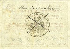 10.2.1915 FRANZÖSISCHE NOTSCHEINE Plouvain (62). Billet. 2 francs 10.2.1915, annulé Rousseurs, ss