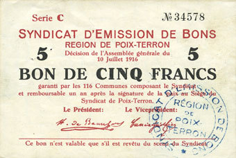 10.7.1916 FRANZÖSISCHE NOTSCHEINE Poix-Terron (08). Syndicat d'Emission. Billet. 5 francs 10.7.1916, série C vz / ss+