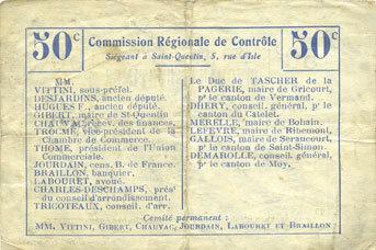 FRANZÖSISCHE NOTSCHEINE Pontruet (02). Commune. Billet. B.R.U., 50 centimes Déchirure (8 mm) sinon ss
