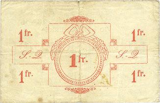 5.5.1915 FRANZÖSISCHE NOTSCHEINE Saint-Quentin (02). Billet. 1 franc 5.5.1915, série C, n° de planche 1 Taches, déchirures (5,5 mm) sinon ss