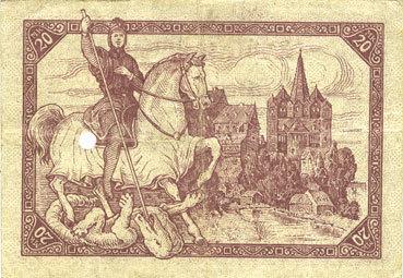 1918-11-20 DEUTSCHLAND - NOTGELDSCHEINE (1914-1923) K -Z Limburg a. d. Lahn, Stadt, billet, 20 mark 20.11.1918, annulation par perforation ss