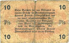 1.5.1917 DEUTSCHLAND - NOTGELDSCHEINE (1914-1923) K -Z Lintfort, Steinkohlenbergwerk Friedrich Heinrich, billet, 10 pf 1.5.1917