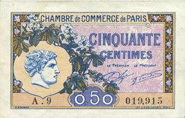 10.3.1920 FRANZÖSISCHE NOTSCHEINE Paris (75). Chambre de Commerce. Billet. 50 centimes 10.3.1920, série A.29 vz