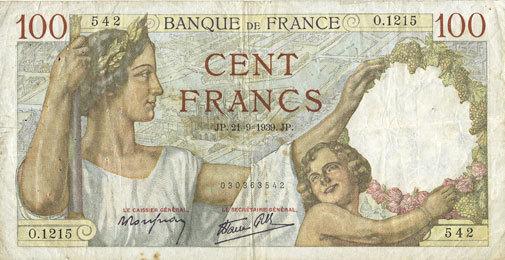 21.9.1939 BANKNOTEN DER BANQUE DE FRANCE Banque de France. Billet. 100 francs Sully, 21.9.1939 s