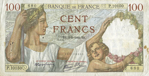 2.5.1940 BANKNOTEN DER BANQUE DE FRANCE Banque de France. Billet. 100 francs Sully, 2.5.1940 s