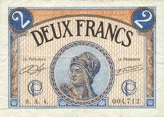 10.3.1920 FRANZÖSISCHE NOTSCHEINE Paris (75). Chambre de Commerce. Billet. 2 francs 10.3.1920, série A.4 ss