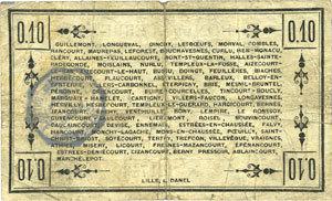 2.9.1915 FRANZÖSISCHE NOTSCHEINE Péronne (80). Bon de guerre de la Région de Péronne. Billet. 10 centimes 2.9.1915 s