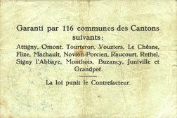 10.7.1916 FRANZÖSISCHE NOTSCHEINE Poix-Terron (08). Syndicat d'Emission. Billet. 1 franc 10.7.1916, série A Tache, s+