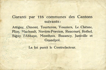 10.7.1916 FRANZÖSISCHE NOTSCHEINE Poix-Terron (08). Syndicat d'Emission. Billet. 5 francs 10.7.1916, série C s-ss
