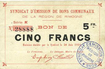 30.6.1916 FRANZÖSISCHE NOTSCHEINE Rimogne (08). Syndicat d'Emission. Billet. 5 francs 30.6.1916, série K ss