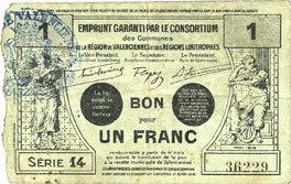FRANZÖSISCHE NOTSCHEINE Valenciennes (59). Emprunt Consortium. Billet. 1 franc, série 14 ss / s+