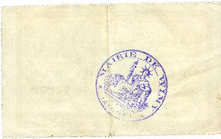 16.2.1915 FRANZÖSISCHE NOTSCHEINE Wimy (02). Commune. Billet. 50 centimes 2 et 16.2.1915, 1ère série vz / ss+
