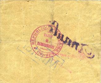1915 FRANZÖSISCHE NOTSCHEINE Raimbeaucourt (59). Commune. Billet. 10 francs émission 1915, série A. Essai (Muster) annulé ss