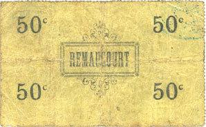 8.8.1915 FRANZÖSISCHE NOTSCHEINE Remaucourt (02). Billet. 50 centimes 8.8.1915 s