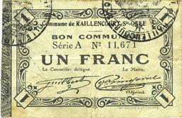 1915-12-16 FRANZÖSISCHE NOTSCHEINE Raillencourt-Ste-Olle (59). Commune. Billet. 1 franc 16.12.1915, série A Rousseurs sinon ss