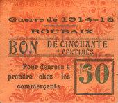 FRANZÖSISCHE NOTSCHEINE Roubaix (59). Billet. 50 centimes, armoiries (11 mm). Inédit ! Inédit ! I