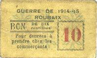 FRANZÖSISCHE NOTSCHEINE Roubaix (59). Billet. 10 centimes, armoiries (6 mm) s