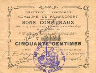 1914-12-20 FRANZÖSISCHE NOTSCHEINE Rumaucourt (62). Commune. Billet. 50 centimes 20.12.1914, mention