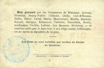 30.6.1916 FRANZÖSISCHE NOTSCHEINE Rimogne (08). Syndicat d'Emission. Billet. 10 francs 30.6.1916, série L ss