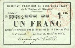 20.2.1916 FRANZÖSISCHE NOTSCHEINE Rimogne (08). Syndicat d'Emission. Billet. 1 franc 20.2.1916, série C Petites taches sinon ss-vz