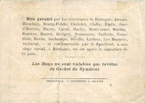 20.2.1916 FRANZÖSISCHE NOTSCHEINE Rimogne (08). Syndicat d'Emission. Billet. 2 francs 20.2.1916, série D ss