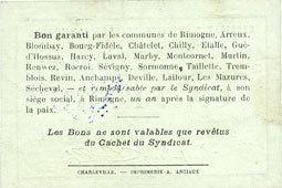 30.6.1916 FRANZÖSISCHE NOTSCHEINE Rimogne (08). Syndicat d'Emission. Billet. 1 franc 30.6.1916, série H 4 vz / ss