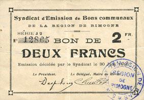 30.6.1916 FRANZÖSISCHE NOTSCHEINE Rimogne (08). Syndicat d'Emission. Billet. 2 francs 30.6.1916, série J 2 ss+