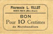 FRANZÖSISCHE NOTSCHEINE Rieumes (31). Pharmacie L. Villot. Billet. 10 centimes vz+