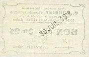 30.7.1918 FRANZÖSISCHE NOTSCHEINE Roche-la-Molière (42). Pharmacie Moderne C. Maurice. Billet. 25 centimes 30.7.1918, N° 885 vz+