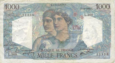 3.10.1946 BANKNOTEN DER BANQUE DE FRANCE Banque de France. Billet. 1000 francs, Minerve et Hercule, 3.10.1946. Trois petites déchirures / bords sinon ss.