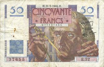 31.5.1946 BANKNOTEN DER BANQUE DE FRANCE Banque de France. Billet. 50 francs Le Verrier, 31.5.1946 s+