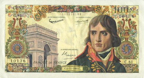 4.11.1960 BANKNOTEN DER BANQUE DE FRANCE Banque de France. Billet. 100 NF, Bonaparte, 4.11.1960 vz