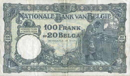 8.7.1932 ANDERE AUSLÄNDISCHE SCHEINE Belgique. Banque Nationale. Billet. 100 francs / 20 belgas, 8.7.1932 ss