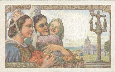 10.2.1944 BANKNOTEN DER BANQUE DE FRANCE Banque de France. Billet. 20 francs pêcheur, 10.2.1944 vz