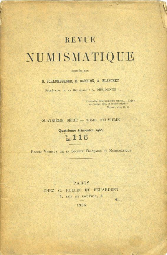 1905 NUMISMATIKBÜCHER Revue numismatique. 1905. 4e trimestre Décousue sinon bon état.