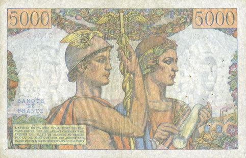 1.2.1951 BANKNOTEN DER BANQUE DE FRANCE Banque de France. Billet. 5000 francs Terre et Mer 1.2.1951 ss