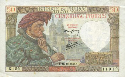 1941-12-18 BANKNOTEN DER BANQUE DE FRANCE Banque de France. Billet. 50 francs Jacques Coeur 18.12.1941 ss+