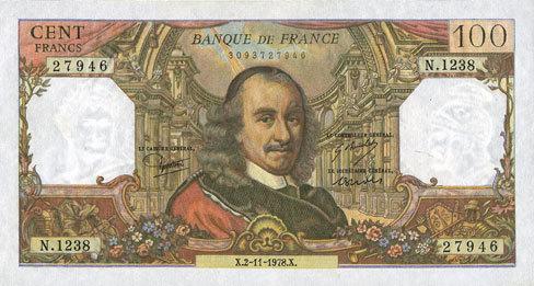 2.11.1978 BANKNOTEN DER BANQUE DE FRANCE Banque de France. Billet. 100 francs, Corneille, 2.11.1978 Deux petits traits de stylo au revers sinon vz+