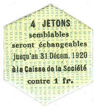1920-12-31 FRANZÖSISCHE NOTSCHEINE Saint-Etienne (42). Chaléassière. Société des Moteurs. Billet. 25 centimes 31.12.1920 I