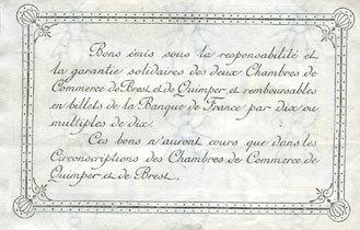 1921 FRANZÖSISCHE NOTSCHEINE Quimper & Brest (29). Chambres de Commerce. Billet. 1 franc 1921, série F vz