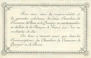 1915 FRANZÖSISCHE NOTSCHEINE Quimper & Brest (29). Chambres de Commerce. Billet. 50 centimes 1915 série A vz+