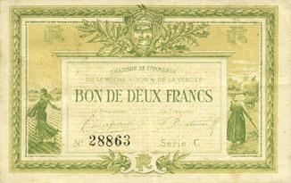 1915 FRANZÖSISCHE NOTSCHEINE La Roche-sur-Yon (85). Chambre de Commerce. Billet. 2 francs 1915, série C Petites rousseurs, ss