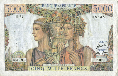 3.11.1949 BANKNOTEN DER BANQUE DE FRANCE Banque de France. Billet. 5000 francs, Terre et Mer, 3.11.1949 Petite tache d'encre / bord supérieur revers sinon ss