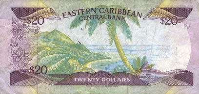 1987-1988 ANDERE AUSLÄNDISCHE SCHEINE Banque Centrale de la Caraïbe Orientale. Billet. 20 dollars (1987-1988). Série G s-ss